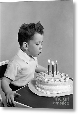Boy Blowing Out Candles On Cake, C.1950s Metal Print