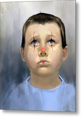 Boy Clown Metal Print by Angela Murdock