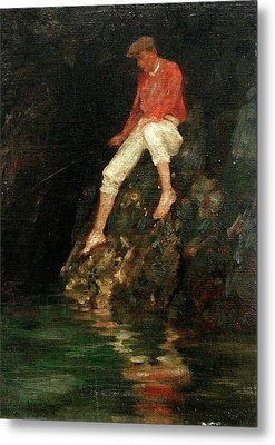 Metal Print featuring the painting Boy Fishing On Rocks  by Henry Scott Tuke
