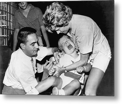 Boy Gets Measles Vaccine  Shot Metal Print by Underwood Archives