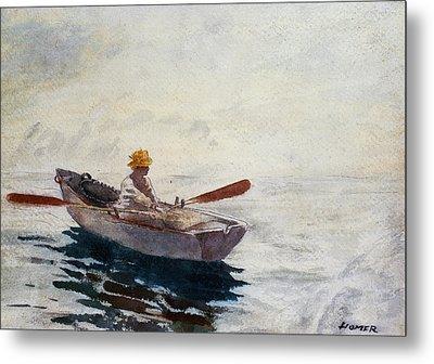 Boy In A Boat Metal Print