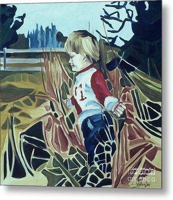 Boy In Grassy Field Metal Print