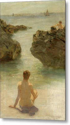 Metal Print featuring the painting Boy On A Beach, 1901 by Henry Scott Tuke