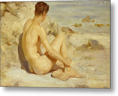 Boy On A Beach Metal Print by Henry Scott Tuke