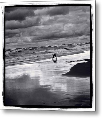 Boy On Shoreline Metal Print by Steve Gadomski