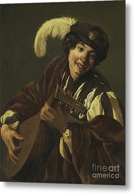 Boy Playing The Lute Metal Print