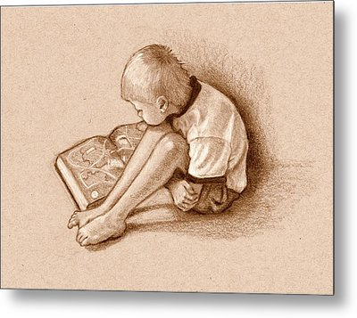 Boy Reading Book Sepia Drawing Metal Print by Joyce Geleynse