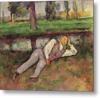 Boy Resting Metal Print by Paul Cezanne