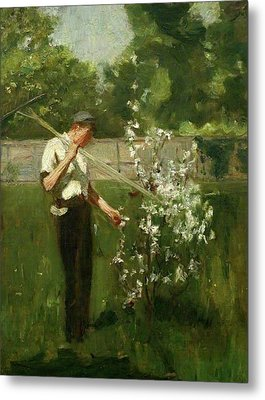 Metal Print featuring the painting Boy With A Grass Rake by Henry Scott Tuke