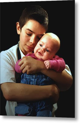 Metal Print featuring the photograph Boy With Bald-headed Baby by RC deWinter