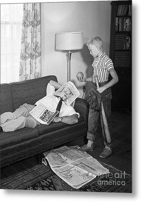 Boy With Baseball Vs. Napping Dad Metal Print