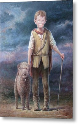 Boy With Dog Metal Print by Hans Droog