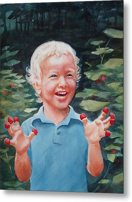 Metal Print featuring the painting Boy With Raspberries by Marilyn Jacobson