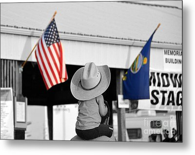Boy With Two Flags Metal Print