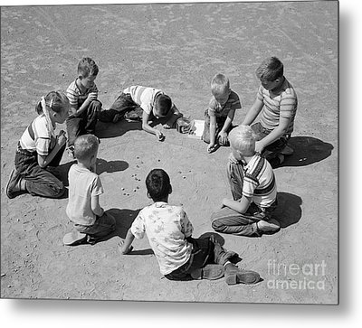 Boys And One Girl Shooting Marbles Metal Print by D. Corson/ClassicStock