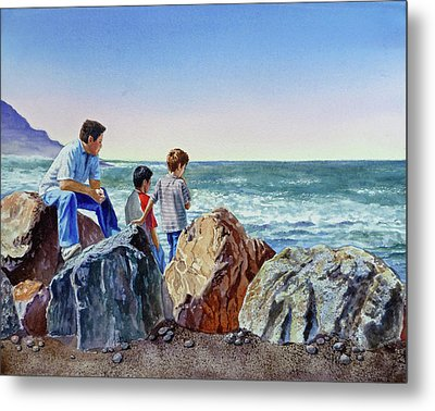 Boys And The Ocean Metal Print
