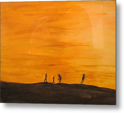 Metal Print featuring the painting Boys At Sunset by Ian  MacDonald
