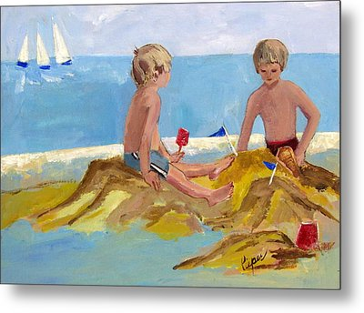 Boys At The Beach Metal Print by Betty Pieper