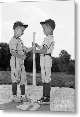 Boys Choosing Sides In Baseball Game Metal Print
