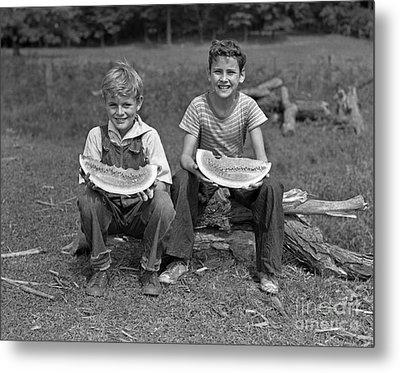Boys Eating Watermelons, C.1940s Metal Print