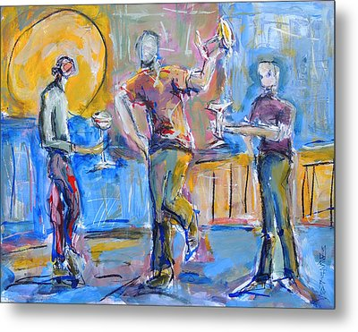 Metal Print featuring the painting Boys Night Out by Mary Schiros