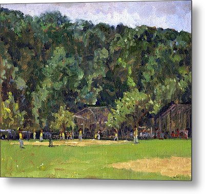 Boys Of Summer Baseball In Inwood Nyc 8x10 Original Plein Air Impressionist Fine Art Metal Print by Thor Wickstrom