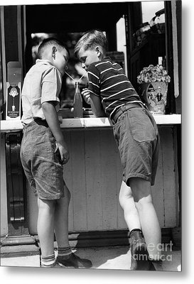 Boys Sharing A Soda With Two Straws Metal Print