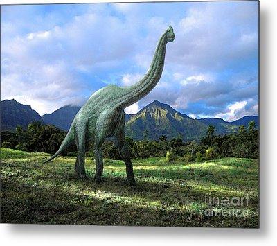 Brachiosaurus In Meadow Metal Print by Frank Wilson