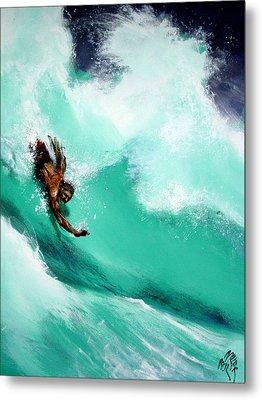 Brad Miller In Makaha Shorebreak Metal Print