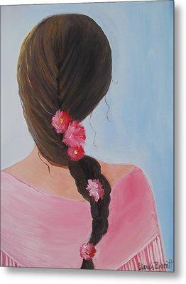 Braided Hair Metal Print by Glenda Barrett