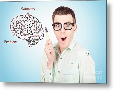 Brain Businessman With Creative Idea Illustration Metal Print by Jorgo Photography - Wall Art Gallery