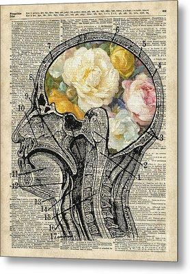 Brain Full Of Flowers Dictionary Art Metal Print