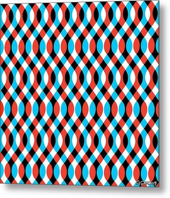 Brain Waves - Blue Metal Print