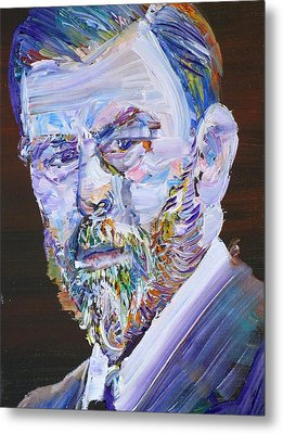 Metal Print featuring the painting Bram Stoker - Oil Portrait by Fabrizio Cassetta