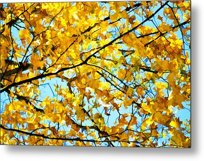 Branch Of Beautiful Autumn Maple Leaves 1 Metal Print by Lanjee Chee