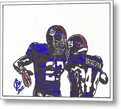 Metal Print featuring the drawing Brandon Jacobs And Ahmad Bradshaw by Jeremiah Colley