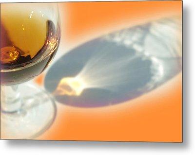 Brandy Glass Reflection Metal Print