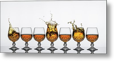 Brandy Glass Splash Metal Print by Andy Astbury
