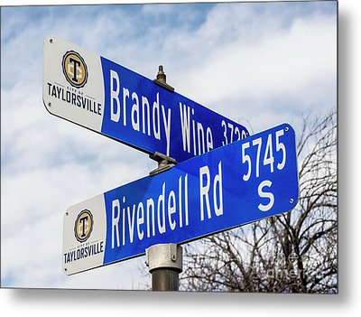 Brandywine And Rivendell Street Signs Metal Print by Gary Whitton