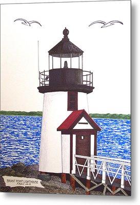 Brant Point Lighthouse At Nantucket Harbor Metal Print by Frederic Kohli
