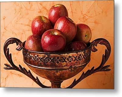 Brass Bowl With Fuji Apples Metal Print by Garry Gay