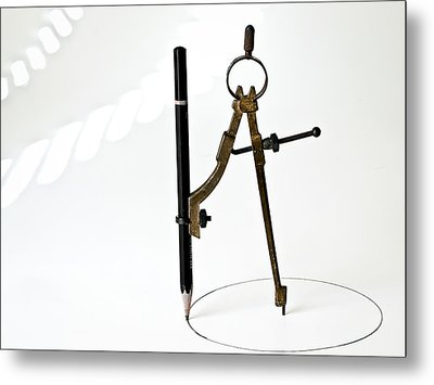 Brass Compass And Pencil Metal Print by Bob Orsillo