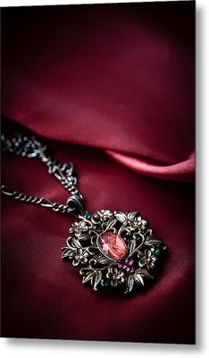 Brass Pendant With Red Gem Metal Print