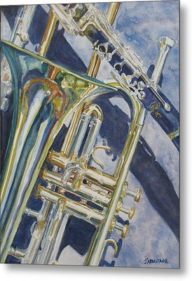 Brass Winds And Shadow Metal Print by Jenny Armitage