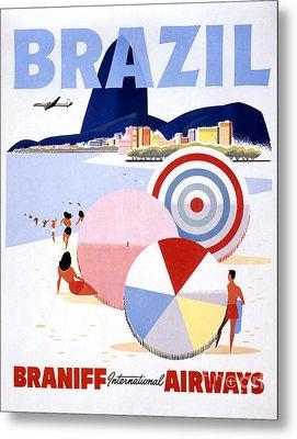 Brazil Vintage Travel Poster Restored Metal Print