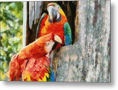Brazilian Arara At Home - Monet Style Metal Print by Leonardo Digenio