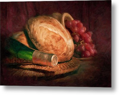Bread And Wine Metal Print by Tom Mc Nemar