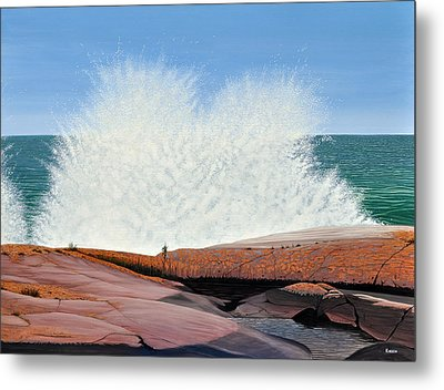 Metal Print featuring the painting Breakers On Georgian Bay by Kenneth M  Kirsch