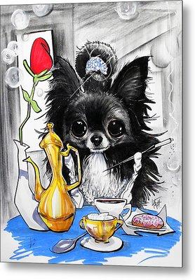 Breakfast At Tiffany's Papillon Caricature Art Print Metal Print