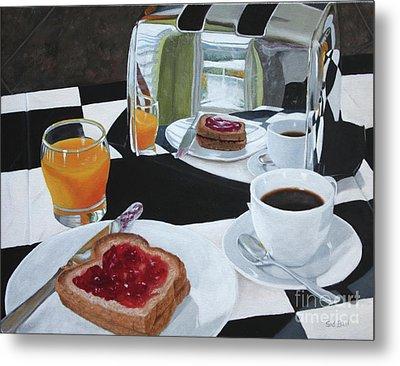 Breakfast Reflections Metal Print by Sid Ball